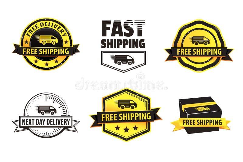 Insignes gratuits d'expédition de jaune illustration de vecteur