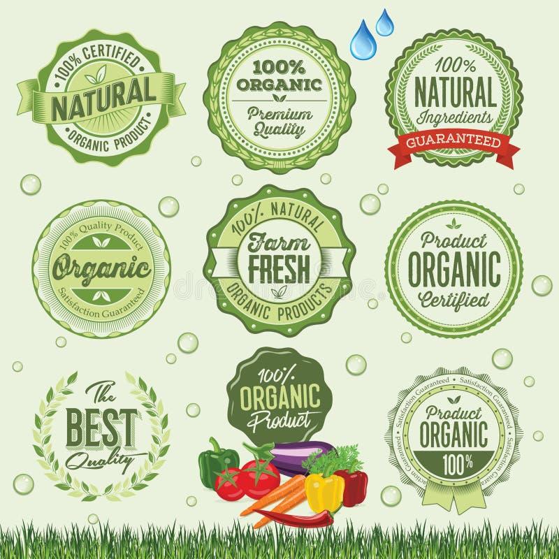 Insignes, labels et éléments d'aliment biologique illustration stock