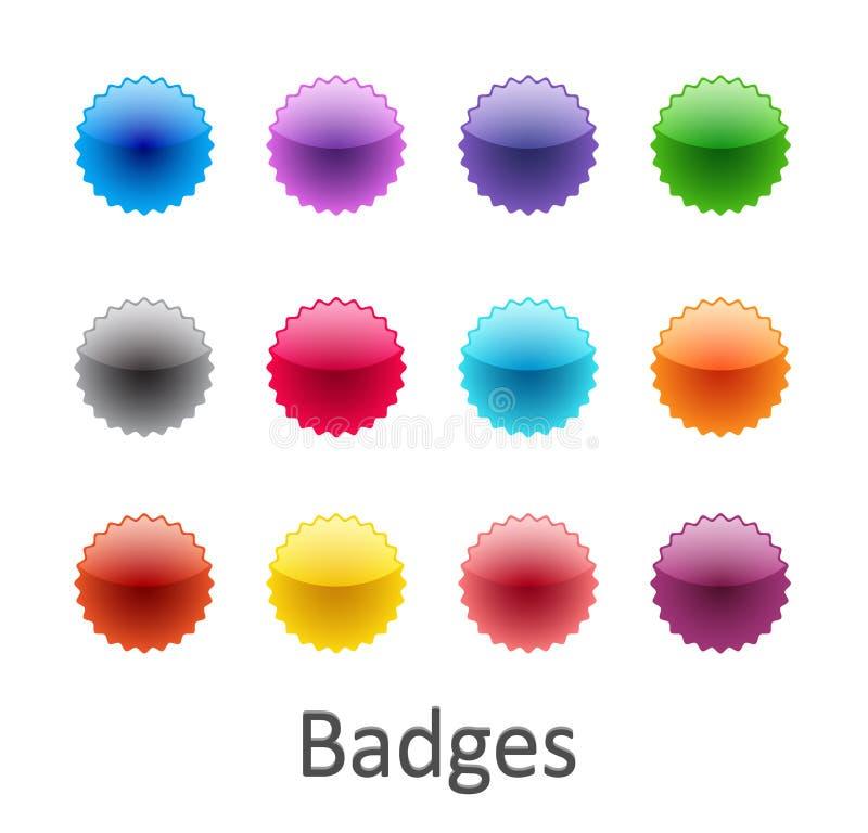Insignes lustrés colorés illustration de vecteur