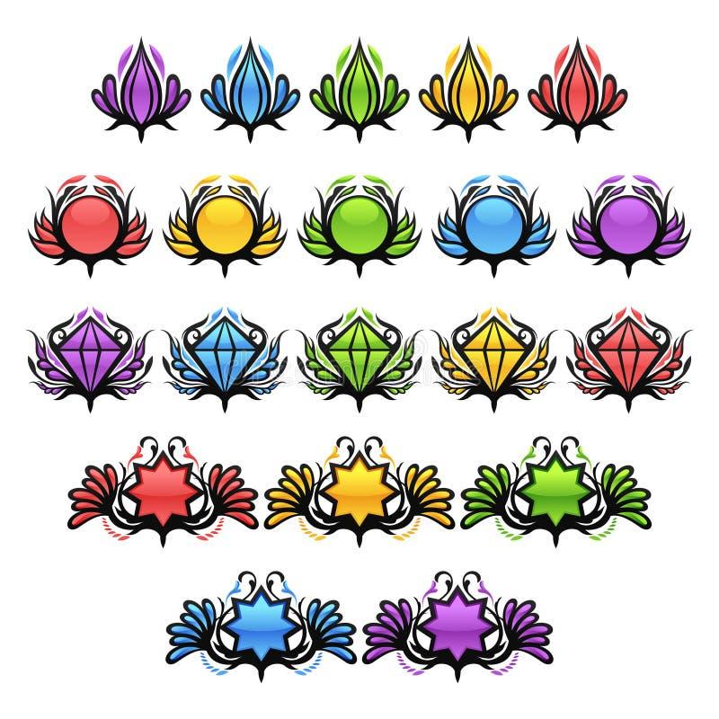 Insignes lustrés colorés illustration libre de droits