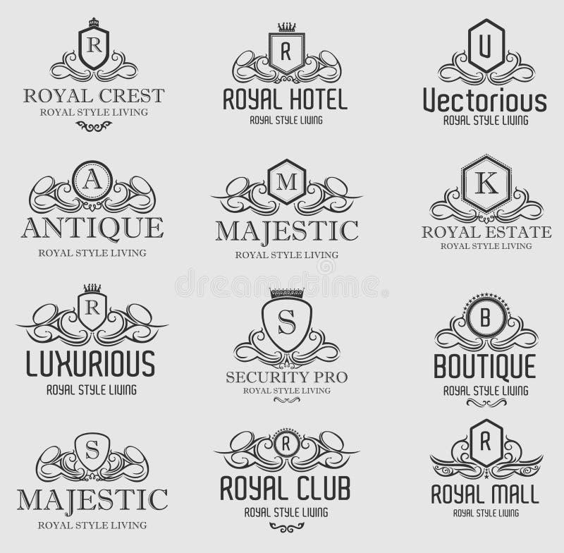 Insignes luxueux royaux héraldiques de logos de crête image stock