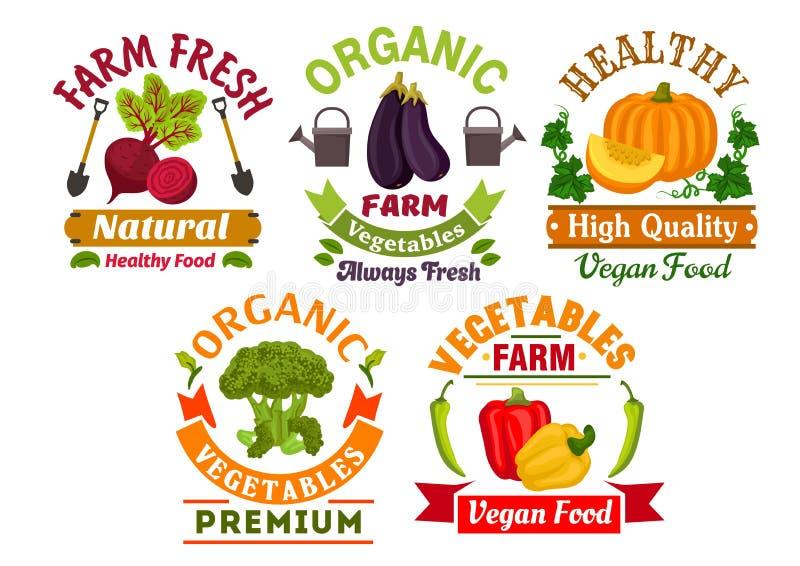Insignes organiques de légumes de ferme fraîche réglés illustration libre de droits