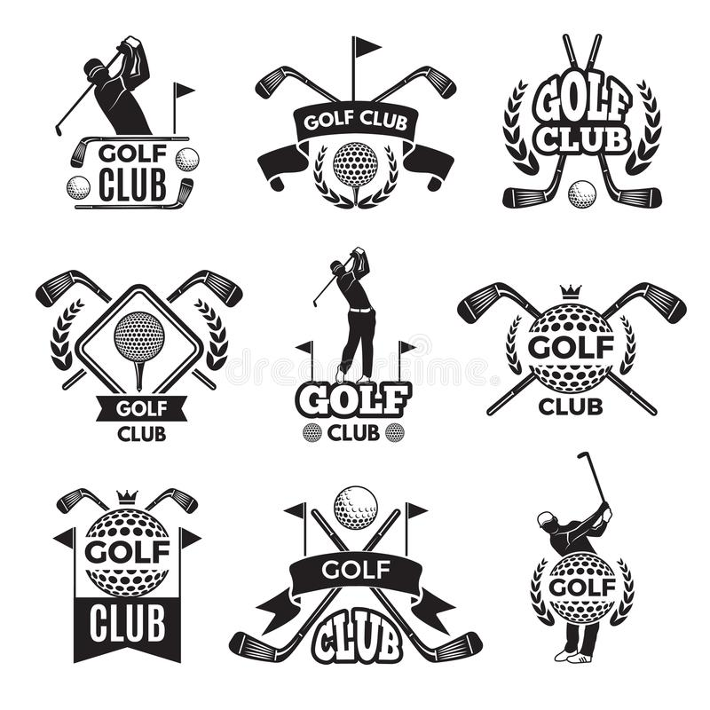 Insignes ou logos pour le club de golf Photos monochromes d'isolement sur le blanc illustration de vecteur