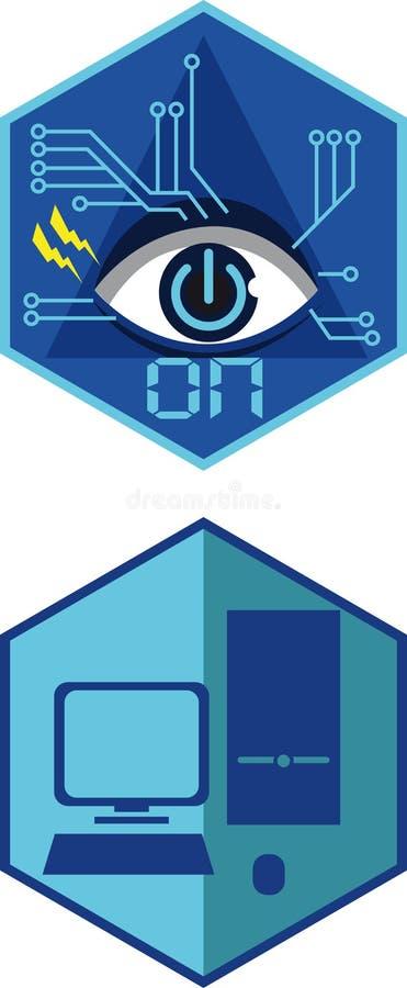 Insignes plats de technologie image stock