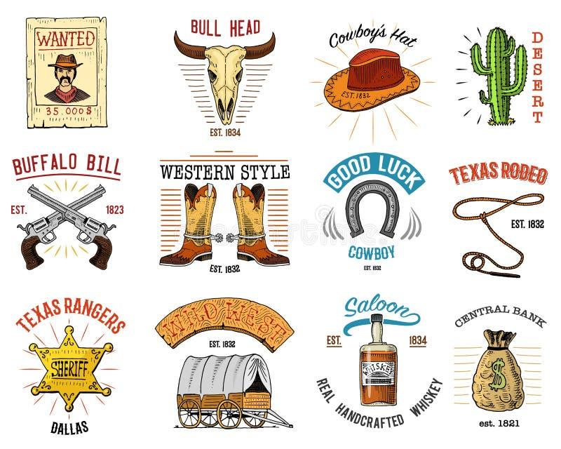 Insignes réglés de cowboy Ouest, rodéo ou Indiens sauvages avec le lasso illustration stock