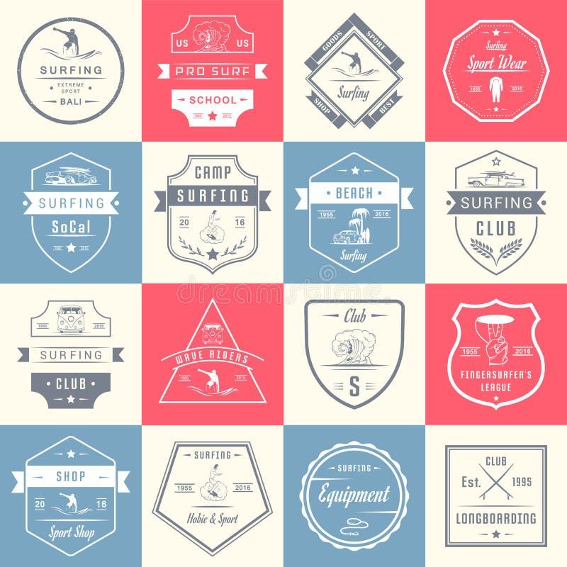 Insignes, signe et logos réglés de ressac de vecteur illustration de vecteur