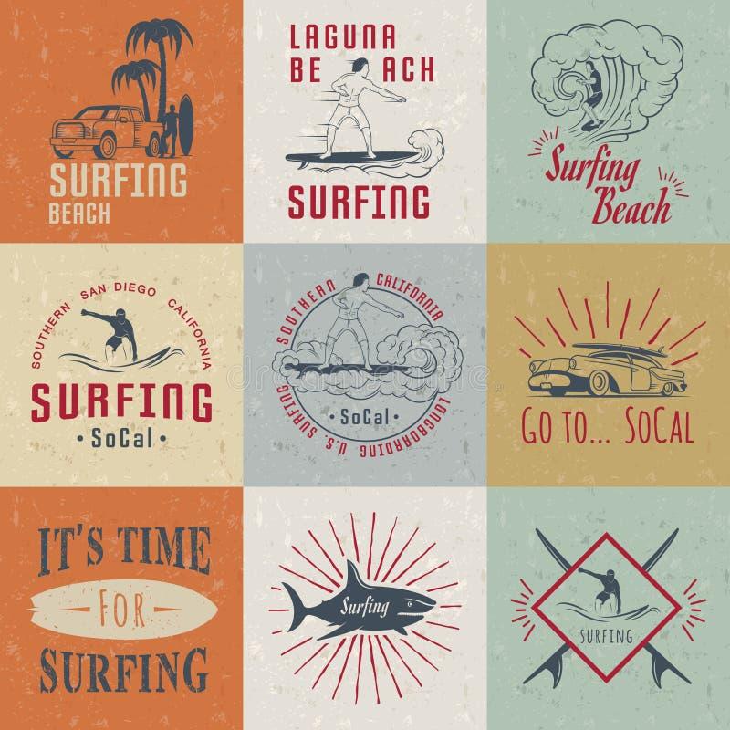 Insignes, signe et logos réglés de ressac de vecteur illustration stock