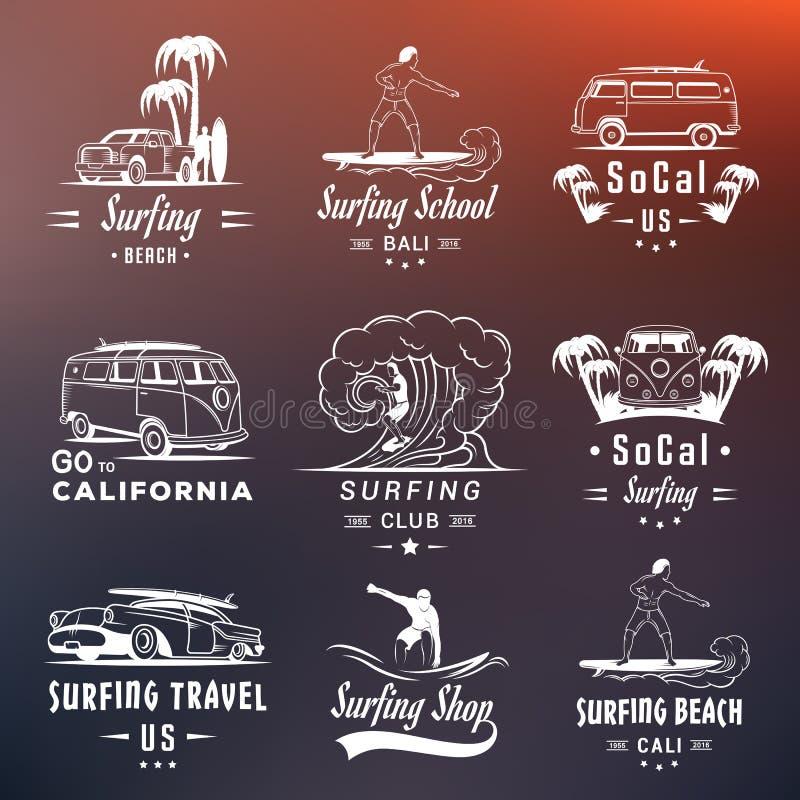Insignes, signe et logos réglés de ressac de vecteur illustration libre de droits