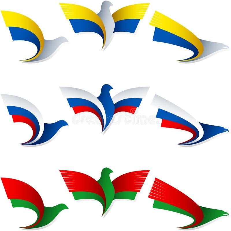 Insignes Ukraine Russie Belarus de symbole de signe de drapeau de mouche d'oiseau illustration libre de droits
