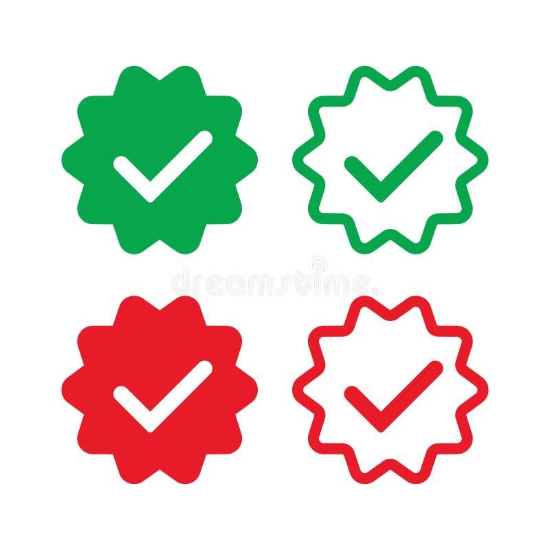 Insignes vérifiés par réseaux sociaux illustration libre de droits
