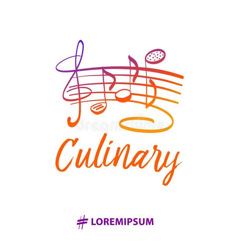 Insignes van de malplaatje de gastronomische chef-kok Exclusieve logotype met cookware stock illustratie