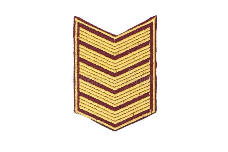 Insignes van militaire die rang op witte achtergrond wordt geïsoleerd. stock afbeelding