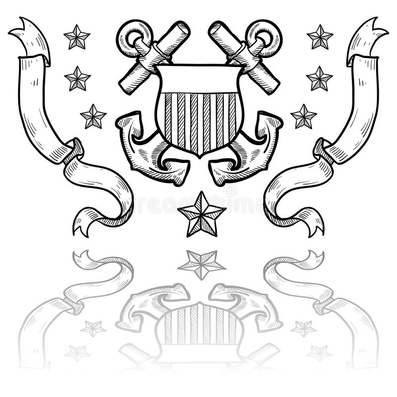 Insignia службы береговой охраны США с венком иллюстрация штока