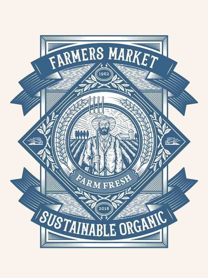 Insignia agrícola sostenible orgánica de los granjeros stock de ilustración
