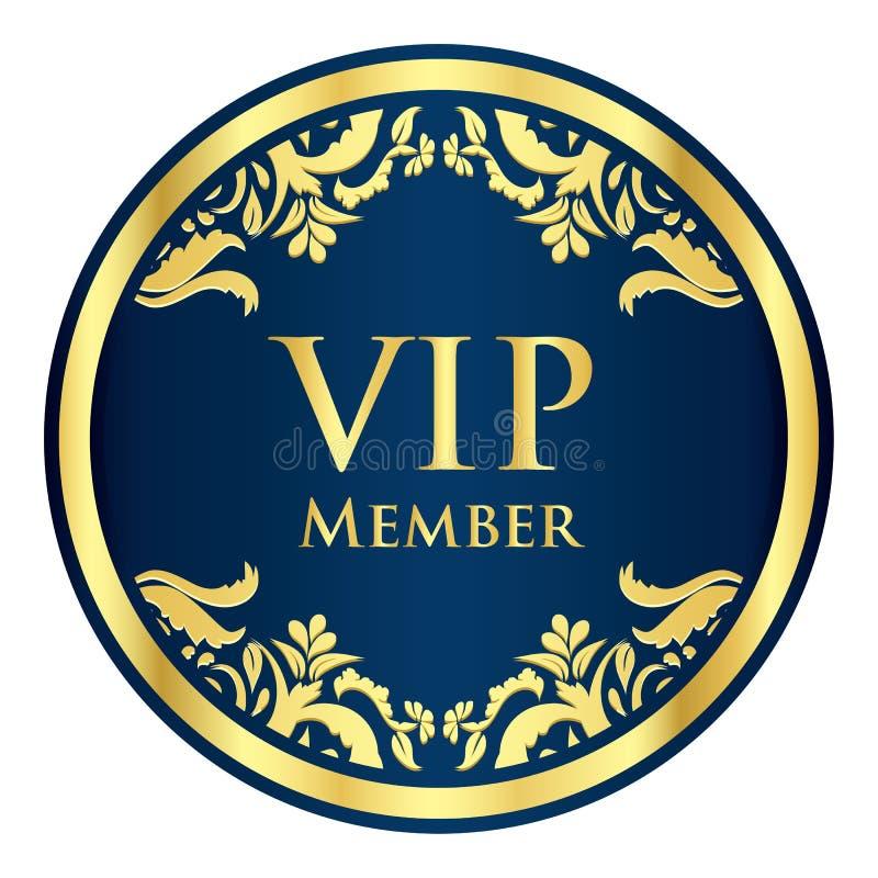Insignia azul del miembro del VIP con el modelo de oro del vintage ilustración del vector