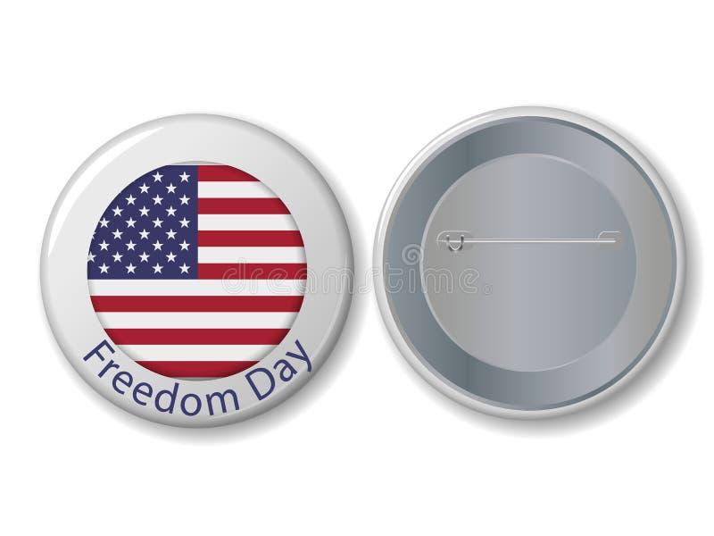 Insignia blanca del vector con el texto del día de la libertad stock de ilustración