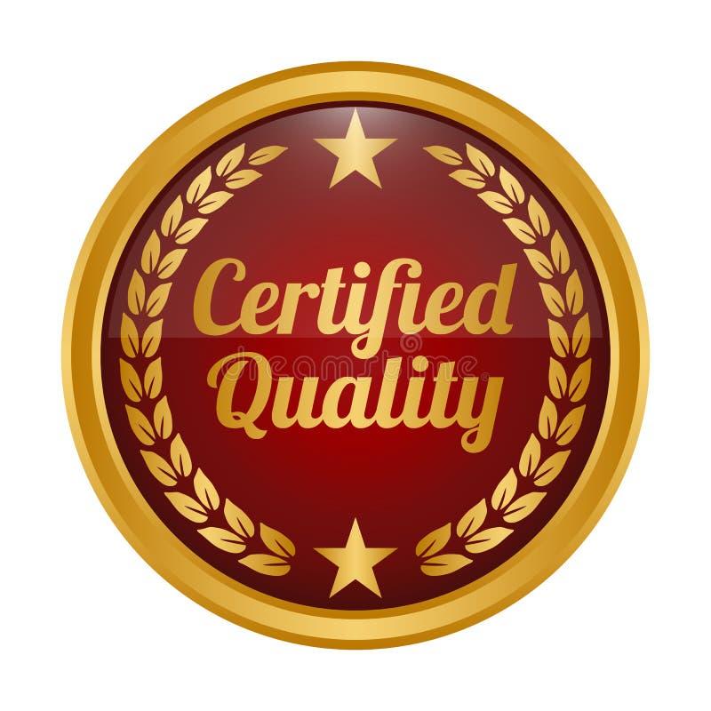 Insignia certificada de la calidad en el fondo blanco fotos de archivo