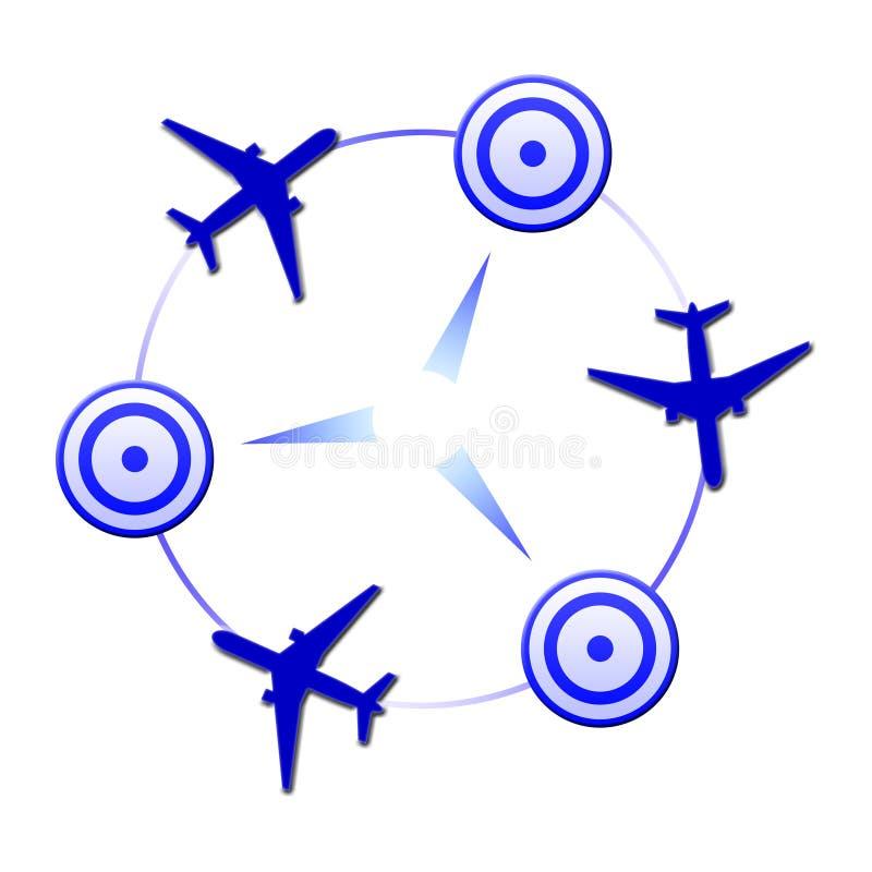 Insignia con los planos en colores azules libre illustration