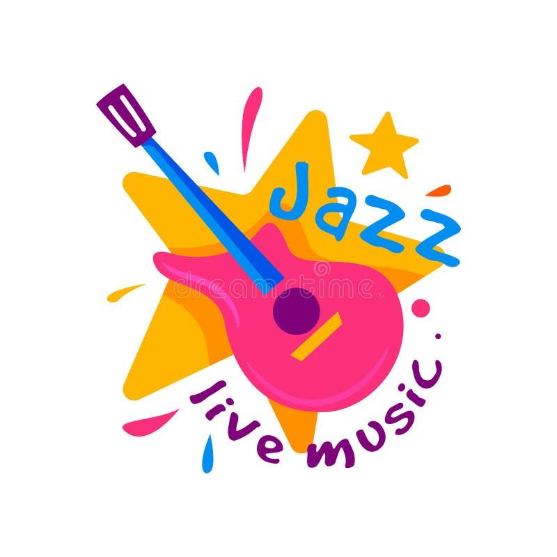 Insignia creativa para el club de jazz Música en directo Emblema con la estrella anaranjada y la guitarra rosada Instrumento musi stock de ilustración