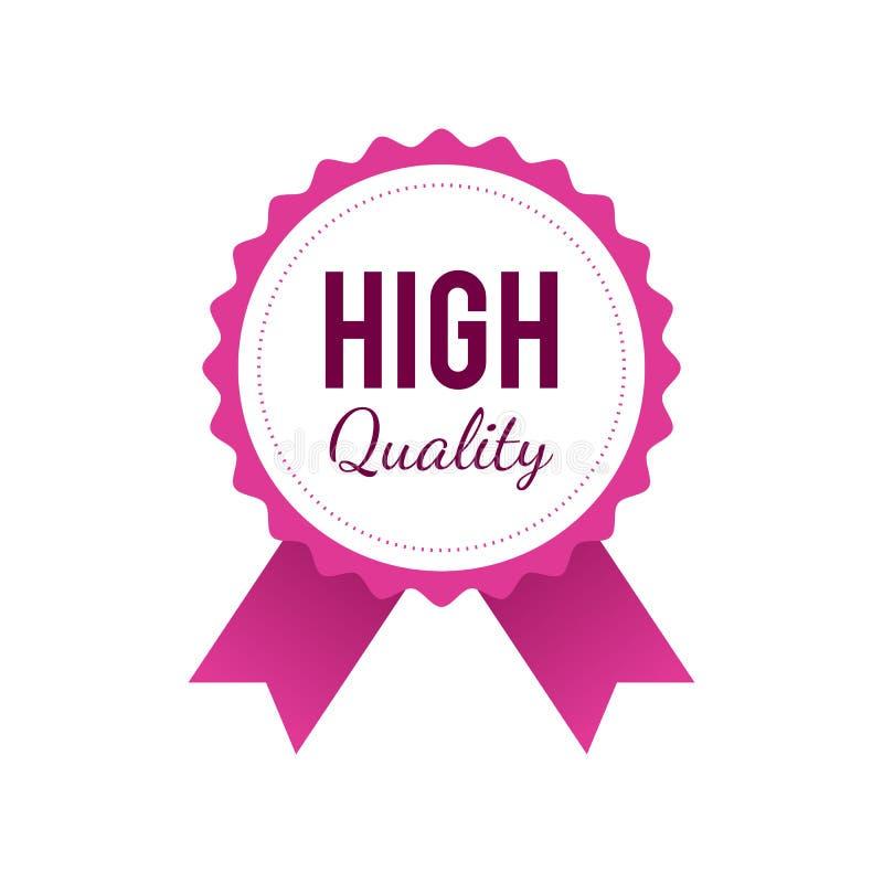 Insignia de alta calidad en color rosado aislada en el fondo blanco libre illustration