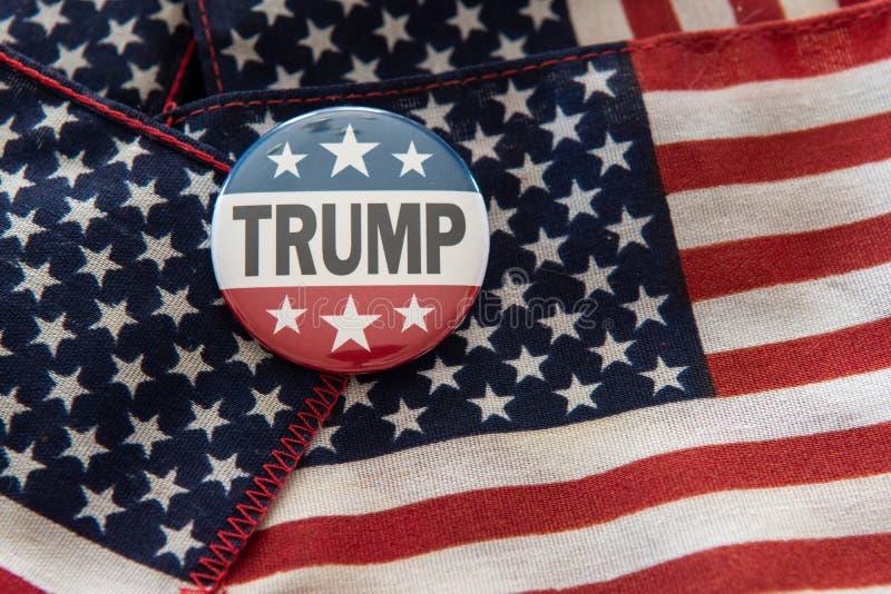 Insignia de campaña de las barras y estrellas del triunfo 2020 contra la bandera de Estados Unidos stock de ilustración