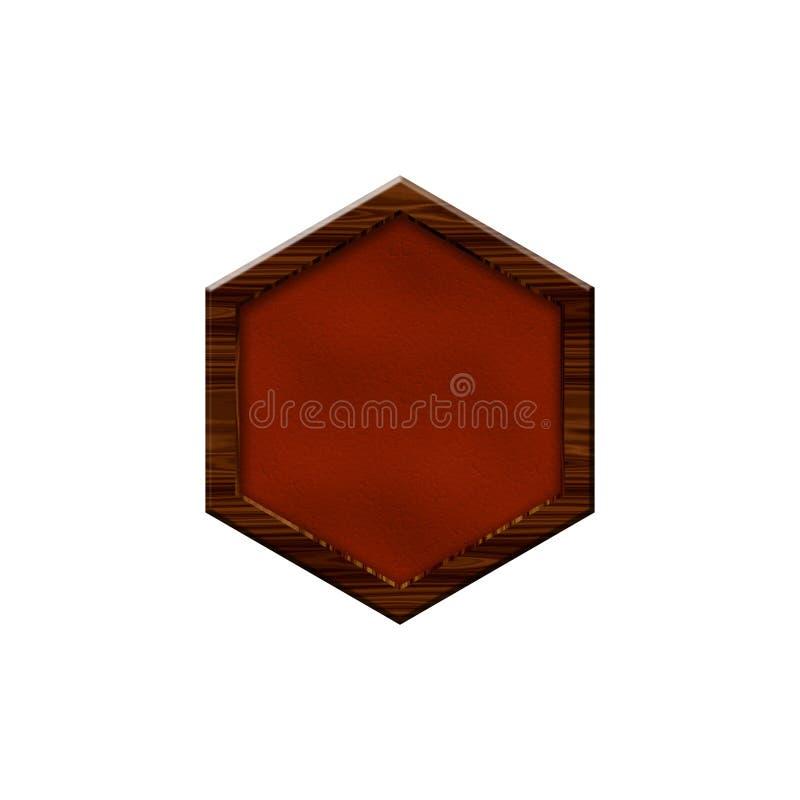 Insignia de cuero con la frontera de madera en la forma de hexágono libre illustration