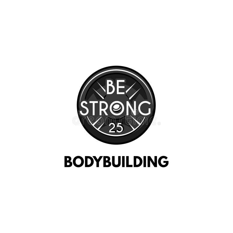 Insignia de la aptitud Peso del disco, disco del barbell Bodybuiding, sea inscripciones fuertes Icono del deporte Vector libre illustration