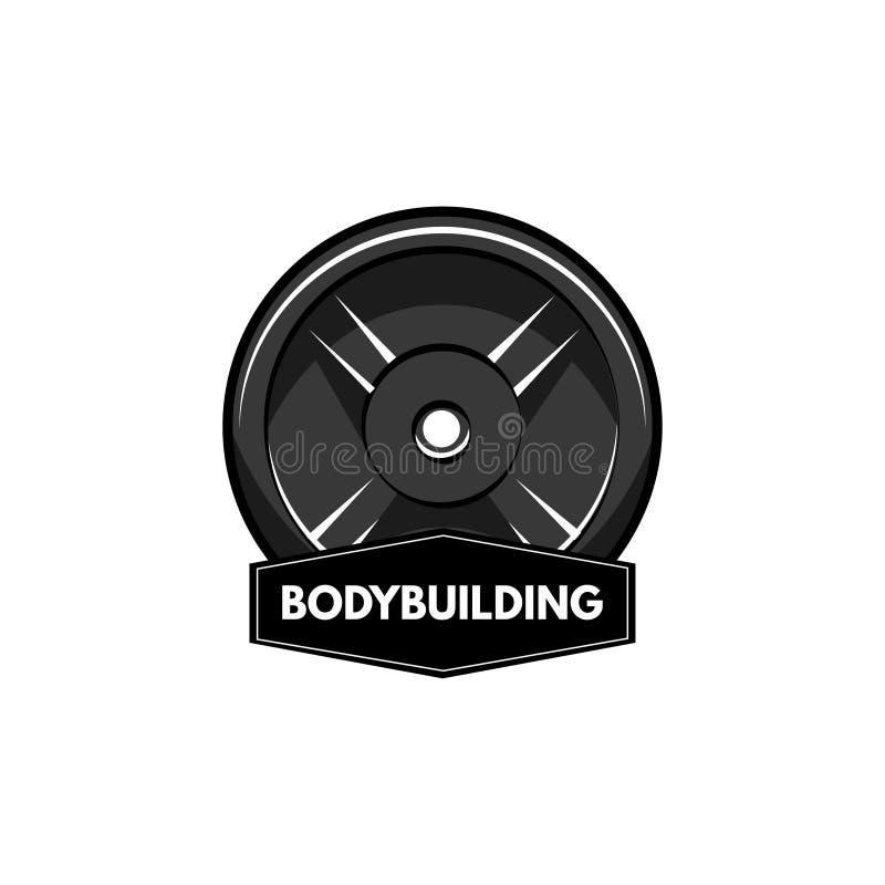Insignia de la aptitud Peso del disco, disco del barbell Inscripción de Bodybuiding Muestra del deporte Vector ilustración del vector