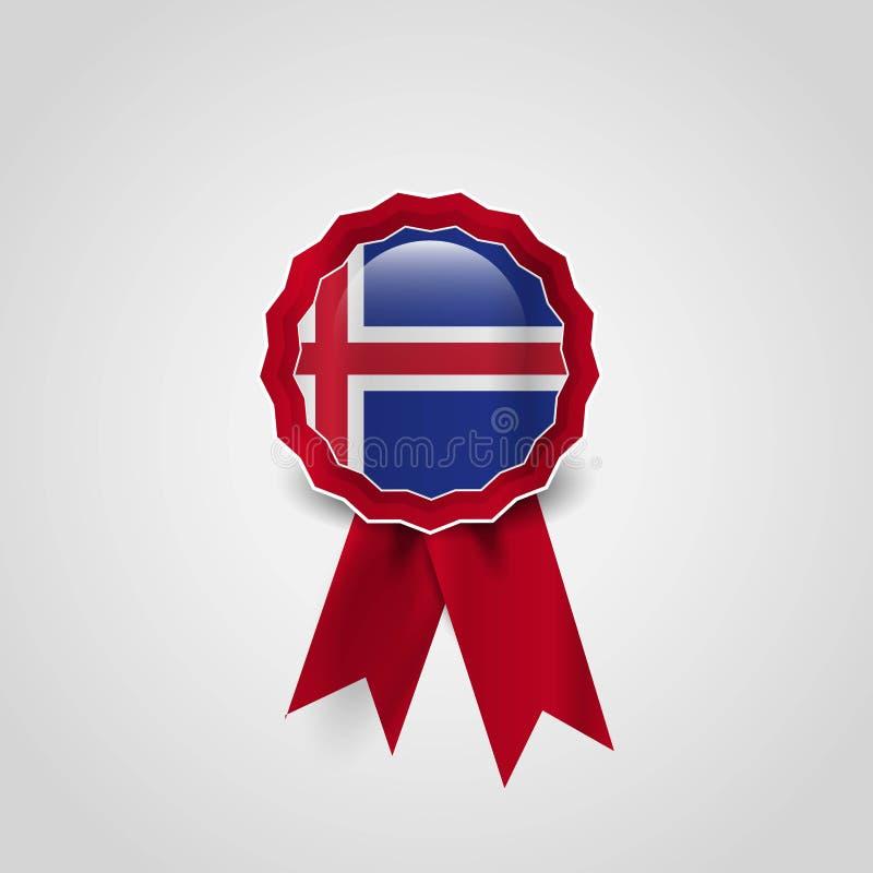 Insignia de la bandera de la cinta de la bandera de Islandia ilustración del vector