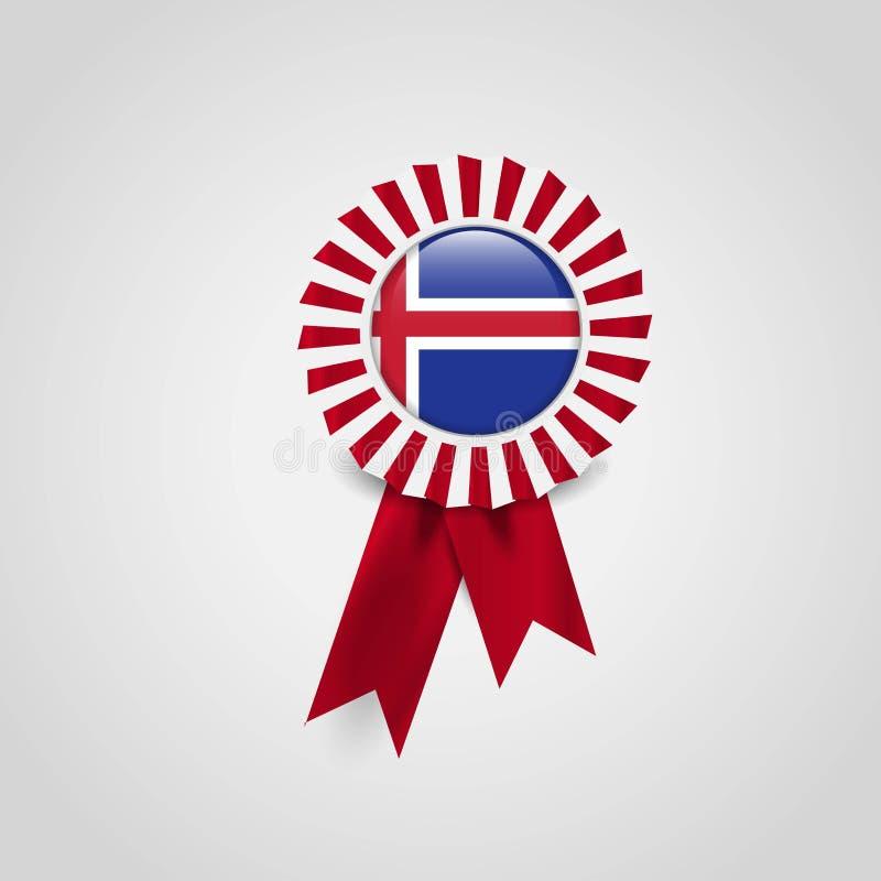Insignia de la bandera de la cinta de la bandera de Islandia stock de ilustración