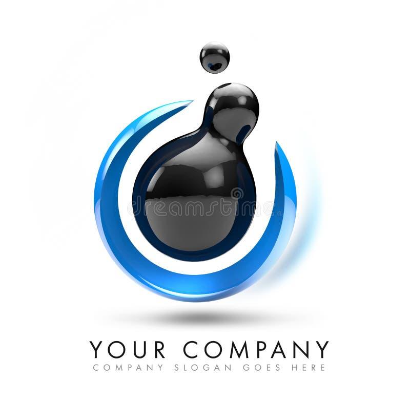 Insignia De La Esfera 3D Stock de ilustración