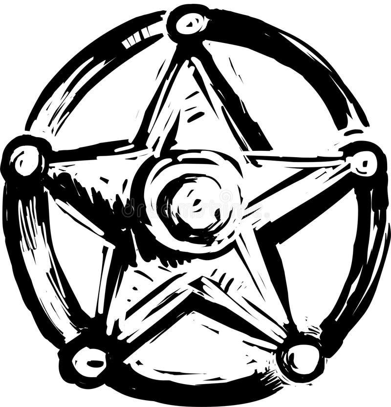 Insignia de la estrella del sheriff stock de ilustración