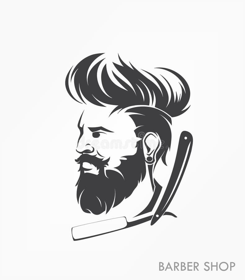 Insignia de la etiqueta del emblema de la peluquería de caballeros del vintage con la barba ilustración del vector