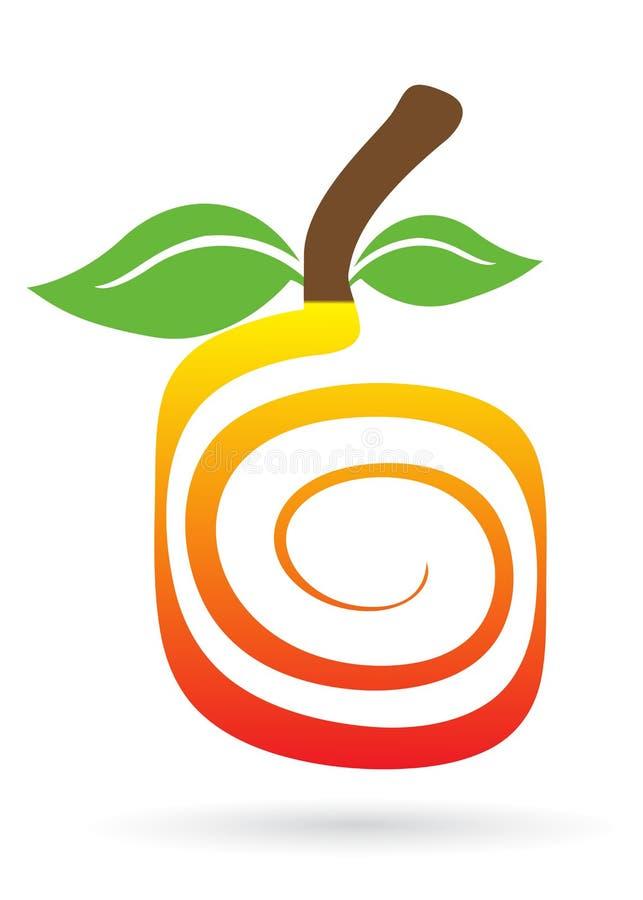 Insignia de la fruta del remolino ilustración del vector