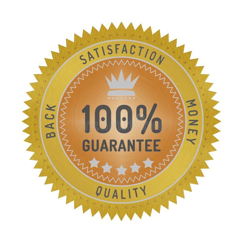 Insignia de la garantía de calidad aislada en blanco ilustración del vector