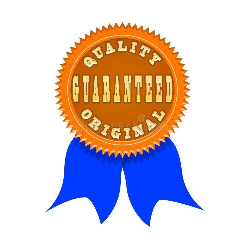 Insignia de la garantía de calidad aislada en blanco stock de ilustración