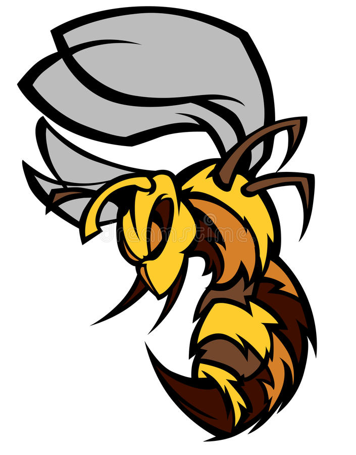 Insignia de la mascota de la abeja/del avispón/de la avispa ilustración del vector