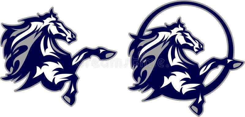 Insignia de la mascota del caballo/del mustango/del caballo salvaje stock de ilustración