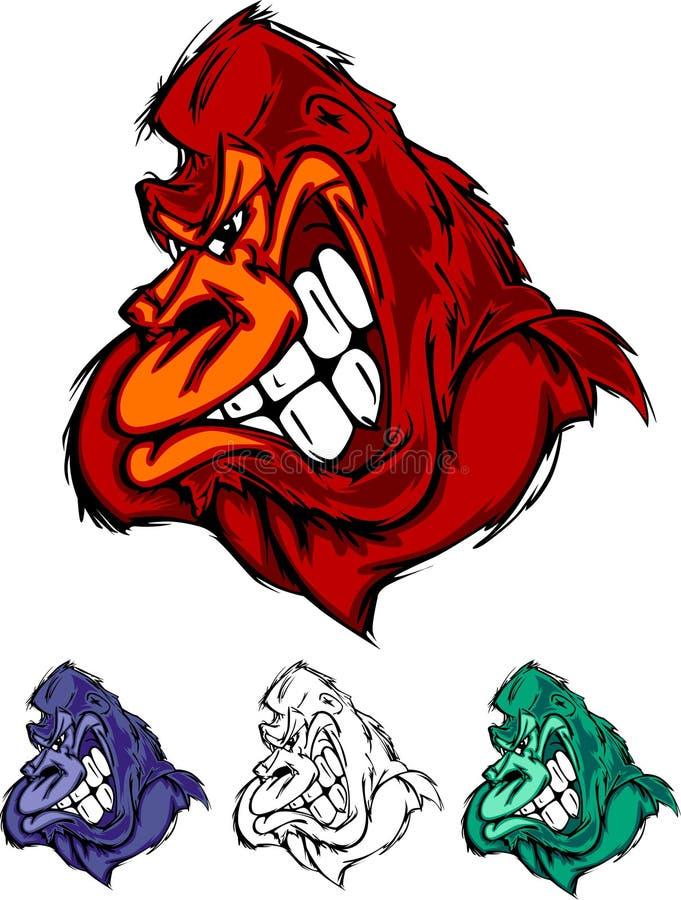 Insignia de la mascota del mono del gorila ilustración del vector
