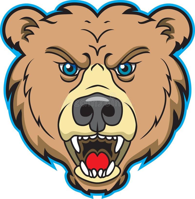 Insignia de la mascota del oso ilustración del vector