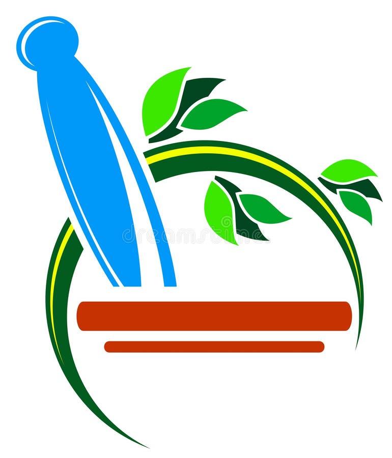 Insignia de la medicina herbaria stock de ilustración
