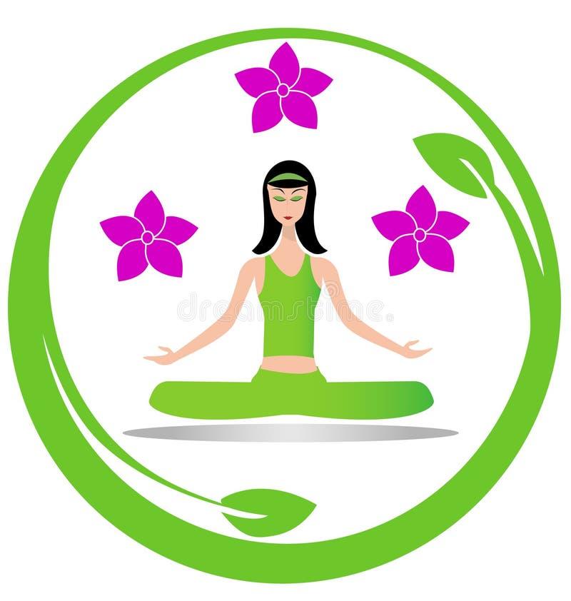 Insignia de la muchacha de la meditación de la yoga stock de ilustración