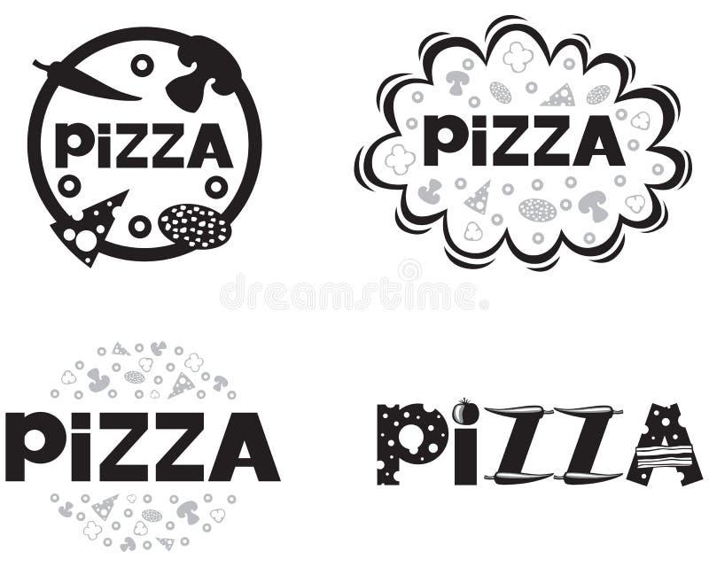 Insignia de la pizza stock de ilustración