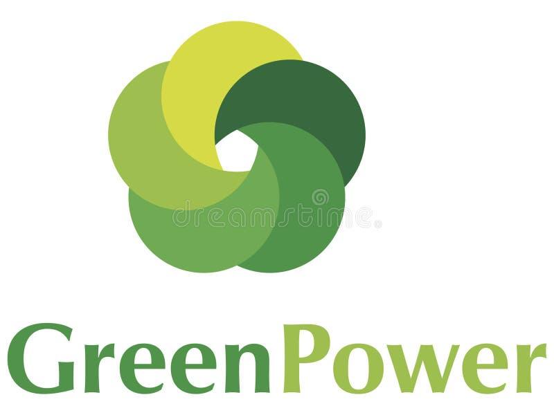Insignia de la potencia verde ilustración del vector