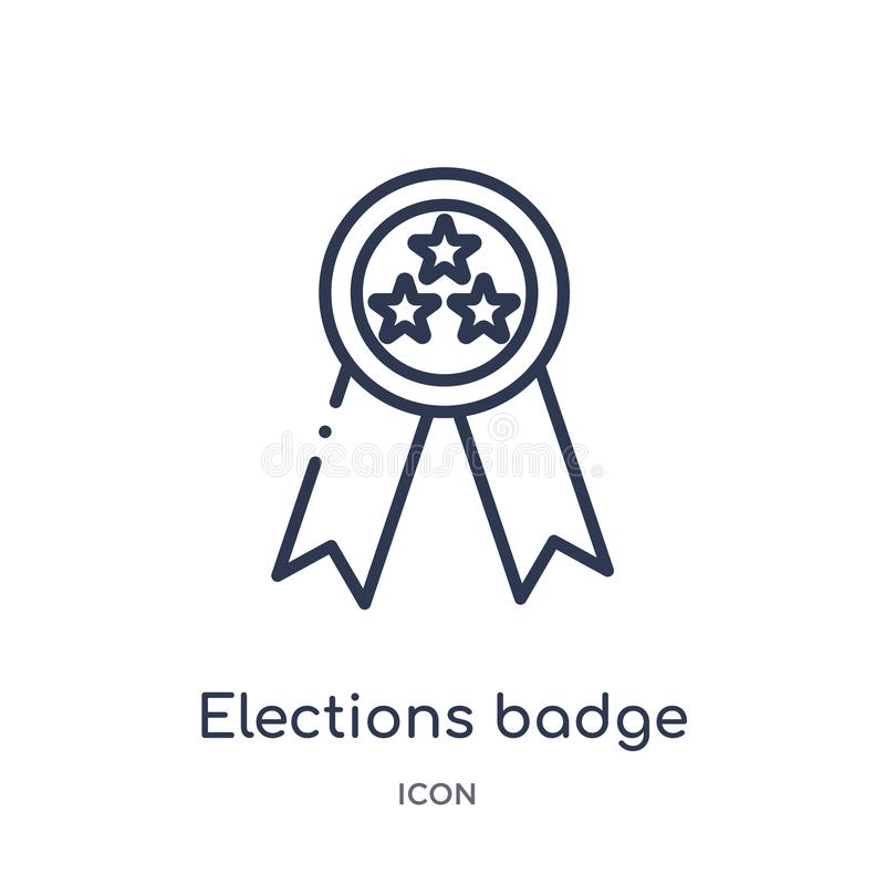 insignia de las elecciones con un icono de la estrella de la colección política del esquema Línea fina insignia de las elecciones ilustración del vector