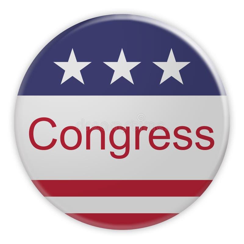Insignia de las noticias de la política de los E.E.U.U.: Botón del congreso con el ejemplo de la bandera 3d de los E.E.U.U. stock de ilustración