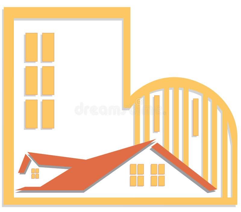 Insignia de las propiedades inmobiliarias ilustración del vector