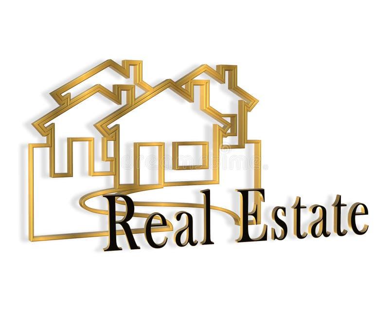 insignia de las propiedades inmobiliarias 3D ilustración del vector