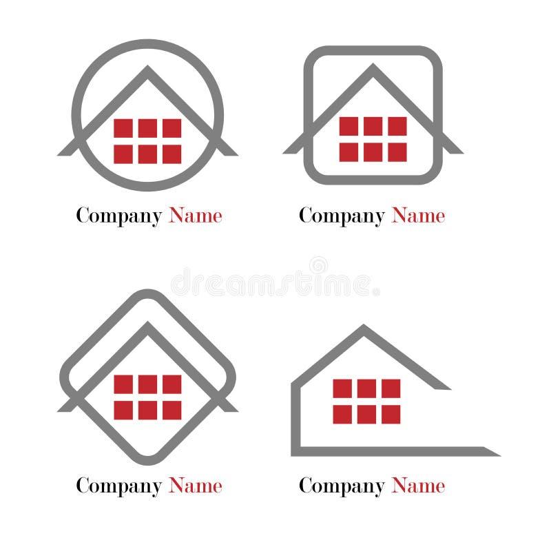 Insignia de las propiedades inmobiliarias - rojo y gris stock de ilustración
