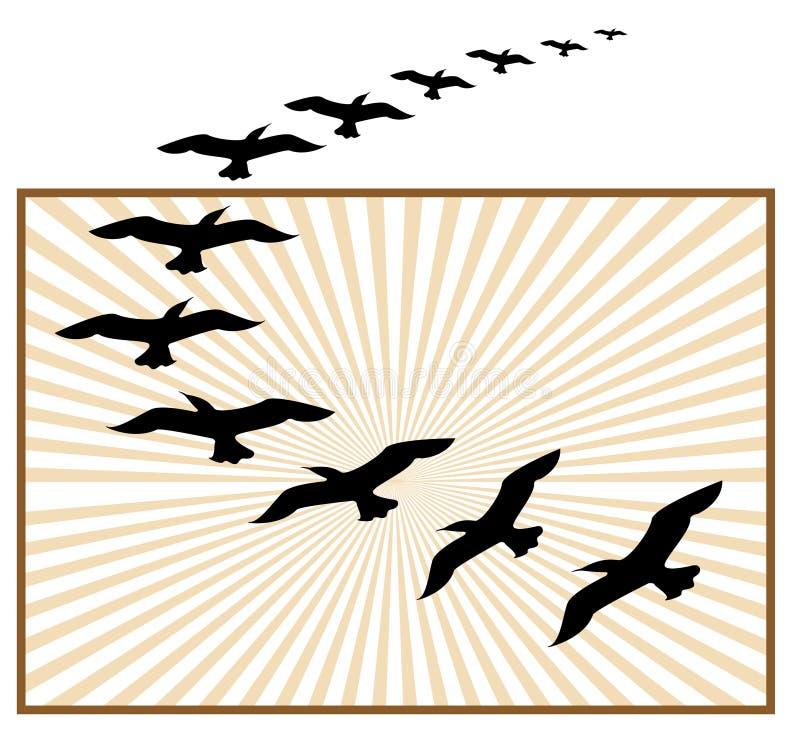 Insignia de los pájaros de vuelo ilustración del vector